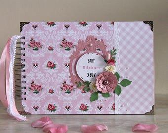 New Baby Gift - Personalized Scrapbook Album - Baby Girl Gift - Baby Girl Memory Book - Pink Photo Album - Baby Shower - Unique Baby Gift