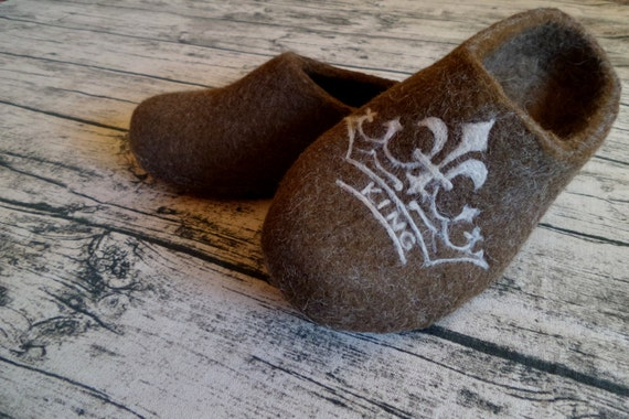 Felted Slippers Shoes Men Royal White Strong Handmade Boiled Wool House Slippers Cozy Winter Warm Indoor Slippers