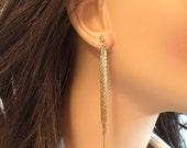 Invisible Clip On Earrings, Non Pierced Earrings, Comfortable Clip On Dangle Earrings for Sensitive Ears, Long Chain Clip Earrings
