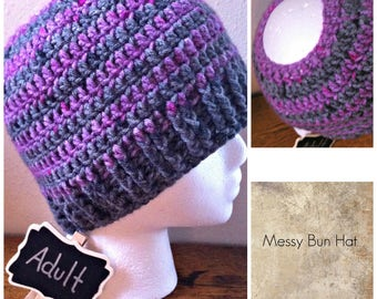 Messy Bun Hat Pink and Grey Stripe