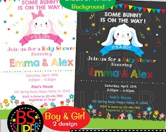 Bunny Invitation, Easter Bunny Party Invite, Bunny Baby Shower Invitation