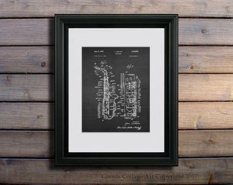 Wall Art Saxophone art print #2 Saxophone invented by Leon Leblanc in 1964 Patent with Chalkboard background. One Single Unframed Art Print