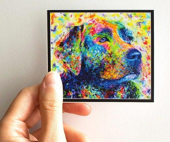 Vinyl Dog Sticker - Labrador Retriever Sticker, Dog Decal, Art Sticker, Vinyl Sticker for Laptop, iPad, Phone, or Car. Waterproof Sticker.