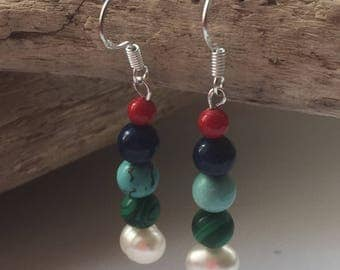 Handmade Sterling Silver, Fresh Water Pearls, Malachite, Turquoise, Lapis Lazuli and Dyed Coral Drop Earrings