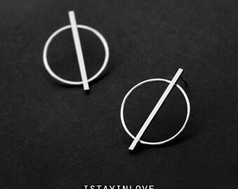 Sterling Silver Geometry Earring | Geometry Jewelry I Personalized Gift