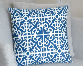 Blue White Throw Pillow Cover - Decorative  Pillow Case - Patterned Accent Pillow Cover - Blue Summer Decor - Cushion Cover