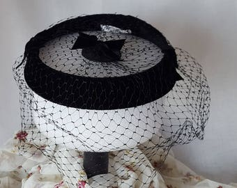 Vintage Black Velvet Half Hat with Netting and Bows