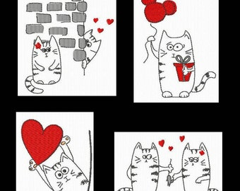 4 in love cats for machine redwork embroidery patterns embroidery 4 x 4