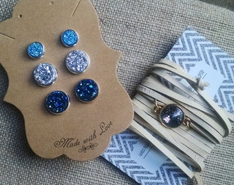 Druzy Earring Set, Earring Gift Set, Druzy Stud Earrings