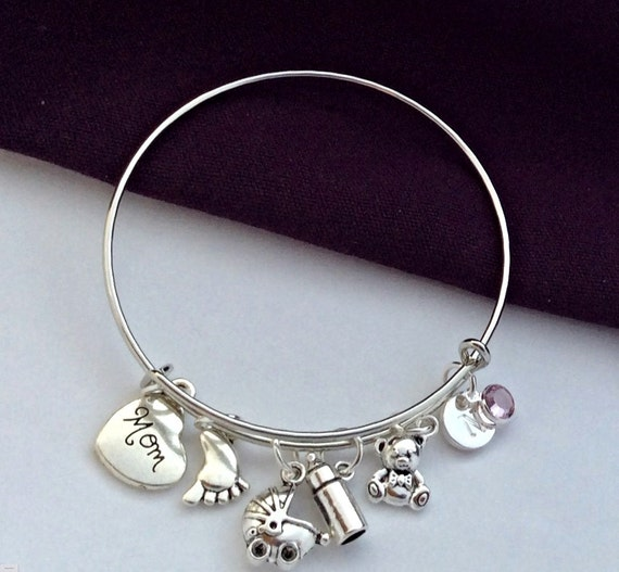 Mothers Charm Bracelet: New Mom Jewelry Gifts Moms Charm Bracelet Jewelry
