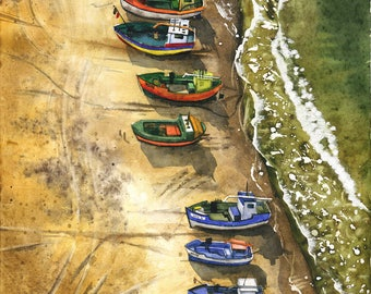 Boats on the beach - ORIGINAL WATERCOLOR PAINTING sea landscape