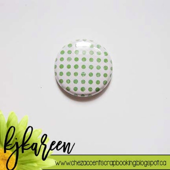 "Badge 1 ""- Polka Dot Green"