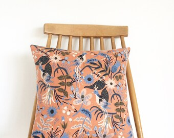 Handmade cushion, with a beautiful floral fabric by 'Rifle Paper Co'. Feather insert included.