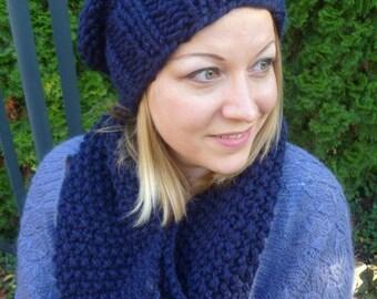 Set knit hood/loop blue, knitloop, handknit scarf