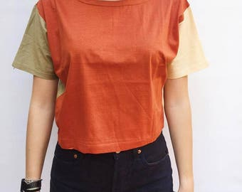 90s Orange Short Shirt / Athletic Striped Crop T / Short T-Shirt / Cotton Crop Top/ Cropped Athletic Shirt / Orange Tee / Grunge Top