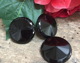 Vintage Jet Black Large Buttons Set of 3 Glass Jet Victorian Shank Buttons Craft Sewing Supplies Costume Antique Button