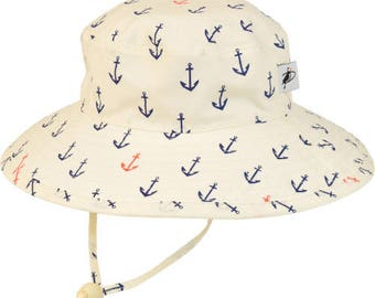 Child's Sun Protection Sunbaby Hat - Organic Cotton Print in Anchor (6 month, xxs, xs, s, m)