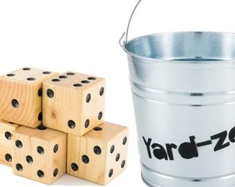 Yard Dice Set of 5 with Yardzee Bucket - Natural