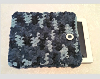 Chenille 10 Inch Tablet iPad Cover with Vintage Button, Hand Crocheted Tablet Sleeve, Aqua, #TD-B14-3, Washable, Free Domestic Shipping