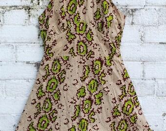 Vintage beige green brown check snake print halter neck go go 60s 70s mini dress S M