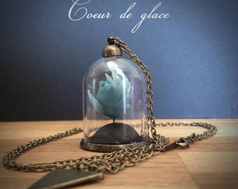"""Bijoux Collier mini-terrarium en verre """"Expression du coeur"""" - coeur de glace -"""