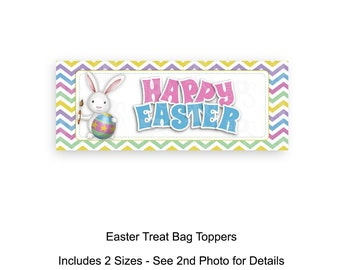 Easter Treat Bag Toppers, Easter Bunny, Candy Bag Toppers, Goodie Bags, Instant Download, Printable, Easter Crafts, Sunday School, Classroom