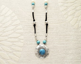 Boho Turquoise Necklace - Sterling silver Pendant - Black Leather Necklace - Boho Pattern - Turquoise Necklace - Native Necklace - Hipster