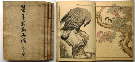 "Japanese vintage woodblock print book, ""Keinen kacho gafu (Keinen's Book of Birds and Flowers)"", Imao Keinen."