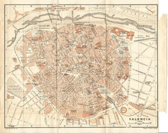 1906 map of valencia spain. antique map  vintage wall decor.