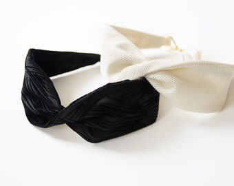 Headband, black or off-white and gold - PROMO-15%