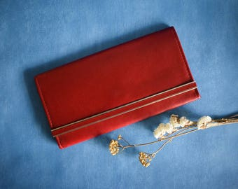 Vintage Red Clutch, Thin Fold Clutch Bag, 80s Red Evening Bag, Travel Wallet