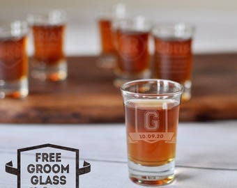 Best Man Gift Ideas - Set of 10 Shot Glasses - Groomsmen Proposal - Shot Glasses Wedding - Personalized Groomsman - Etched Shot Glass