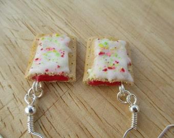 Strawberry Poptart Earrings, Handmade Polymer Clay Kawaii