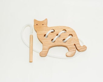 Wooden lacing cat toy, Educational toy, Montessori toys, Organic toy, Toddler activity, Natural eco friendly, Learning sewing toys