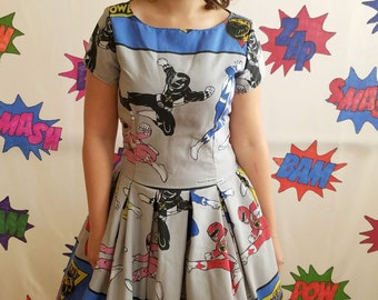 Power Rangers Size 8 Geek Dress Made with Vintage Material