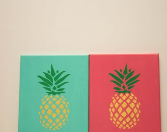 Set of 2 Pineapple Canvases