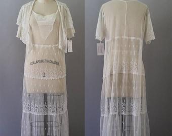 1920s Lace Dress / Vintage Antique 20s Tambour Dress / XS S