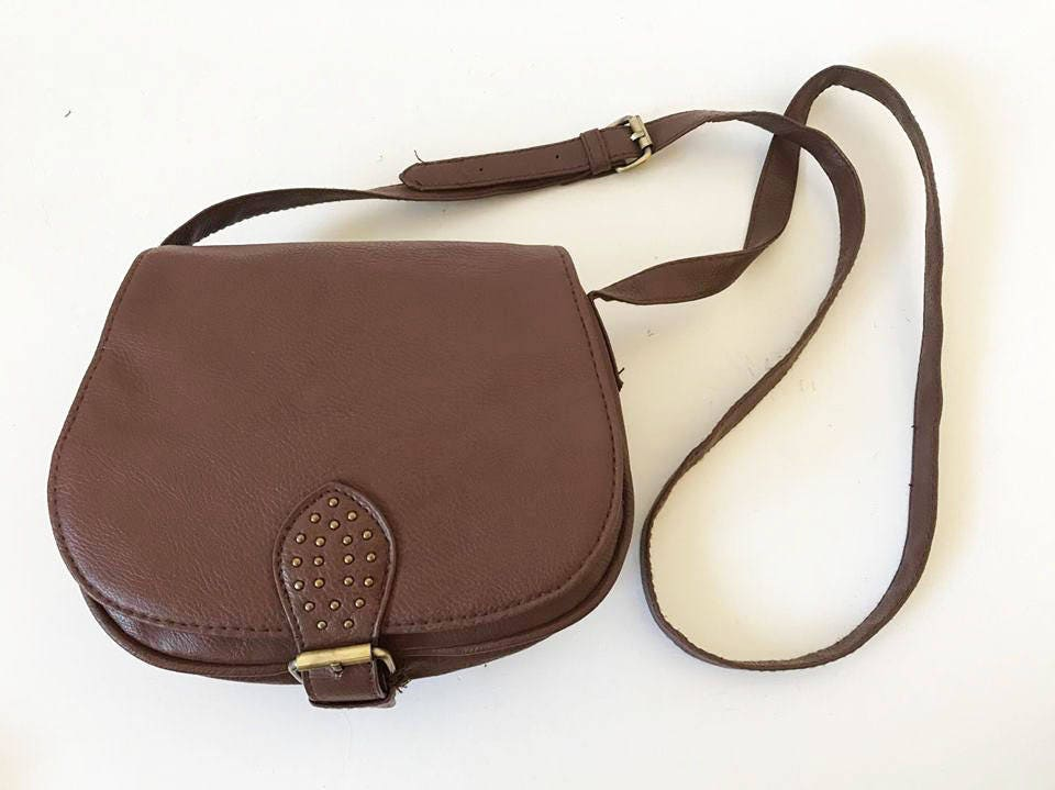 fe0b017bd1cf3c Small Faux Leather Saddle Bag Purse Brown | Stanford Center for ...