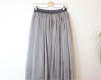 Silver Skirt, Grey Skirt, Tea Length Skirt, Holiday Skirt, Holiday Party Outfit, Chiffon Skirt