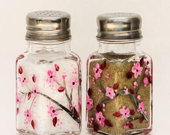 hand painted Cherry Blossoms glass salt and pepper shakers