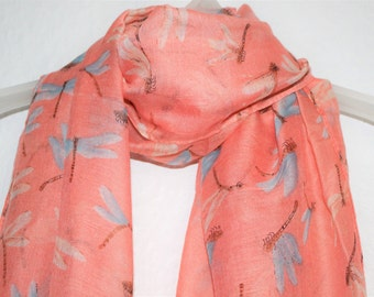 Dragonfly Scarf, Peach/Pink Dragonfly Scarf, Dragonflies, Womens Gift, For Her, Spring Summer, Autumn Scarf, Insects, Animal Scarf, Scarves