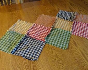Country Table Runner, Homespun Candle Mat, Rag Quilt Table Runner, Center Piece, Table Runner, Homespun Table Runner, Patchwork Table Runner