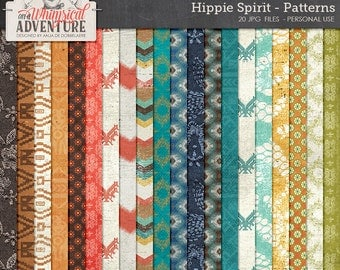 Tribal boho hippie digital papers, scrapbooking geometric patterned paperpack instant download, native indian patterns backgrounds textures