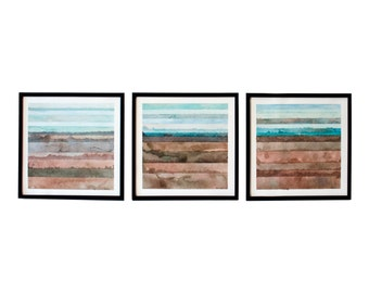 Blue Brown Teal Triptych Wall Art by YtterbergStudio