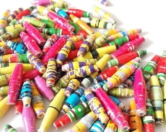 Recycled Paper beads(25 & 30mm) Bulk Pack (50 beads),Fairtrade beads ,Ugandan handmade, african beads, Jewellery making beads,Eco Beads