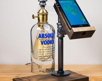 Wood Docking Station Lamp With bottle brass socket Apple watch dock charger
