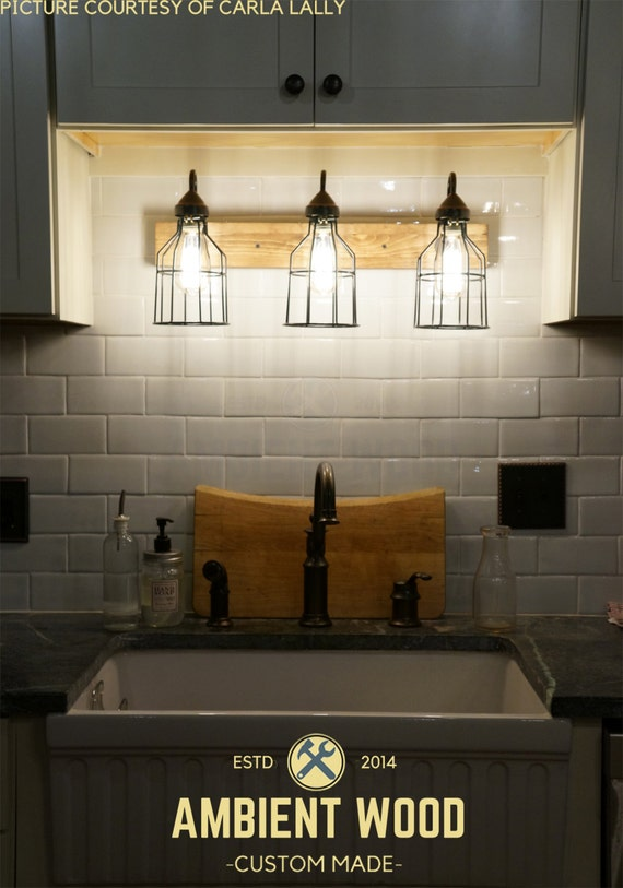 Electrical Box For Vanity Light : Bathroom cages Vanity Bar Light Fixture Industrial style pine