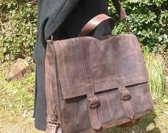 Men's Large Leather Satchel. The Ossian in Dark Chocolate.