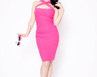 Retro pink rockabilly wiggle pencil cross halter dress