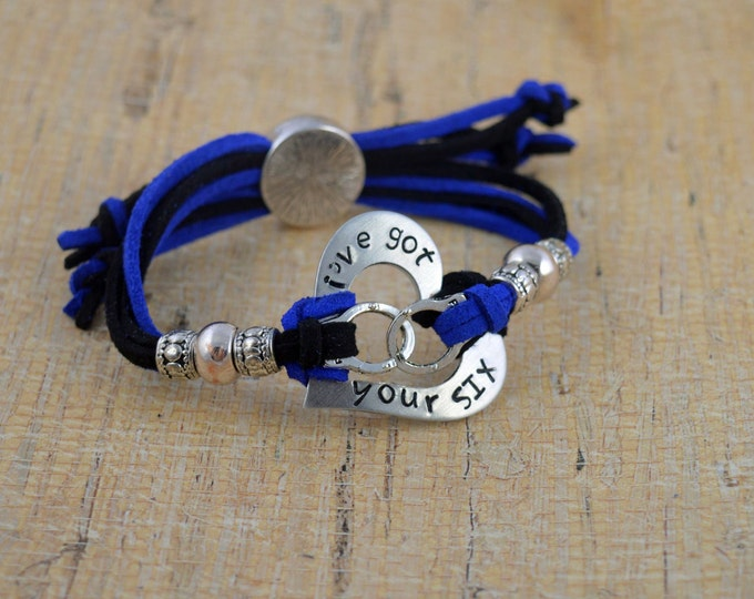 I'v'e Got Your Six, Adjustable Hand Stamped Washer Bracelet, Washer Bracelet, Blue Live Matter, Police Lives Matter